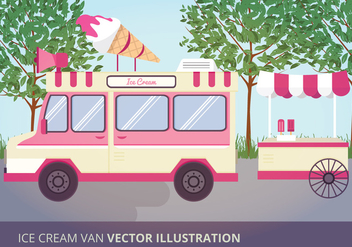 Ice Cream Van Vector Illustration - Free vector #332585
