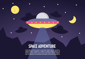 Free Flat Space Landscape Vector Background - Free vector #332685
