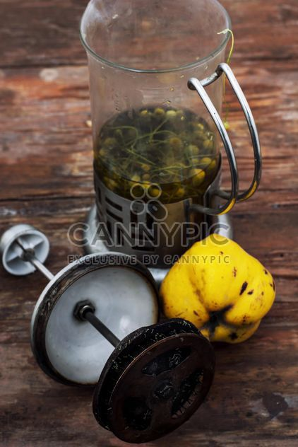 Still life of metal teapot and yellow pears - Free image #332775