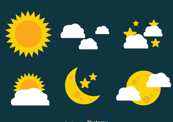 Sun And Moon Icons - vector gratuit #333035