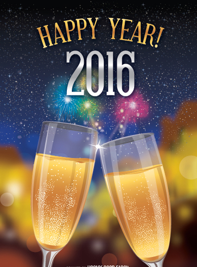 Happy 2016 toast over fireworks background - Kostenloses vector #333095