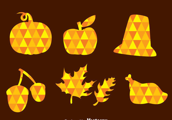 Thanksgiving Triangle Mozaic Icons - Free vector #333835
