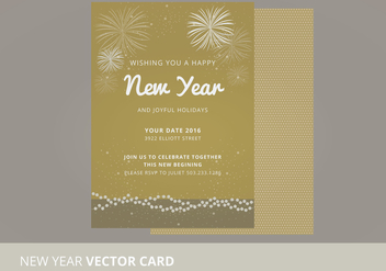 New Year Vector Card - vector gratuit #333915