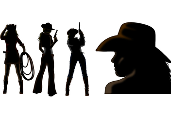 Cowgirl silhouette vectors - Free vector #333945
