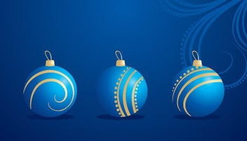 Blue Christmas Baubles Decoration - Free vector #334345