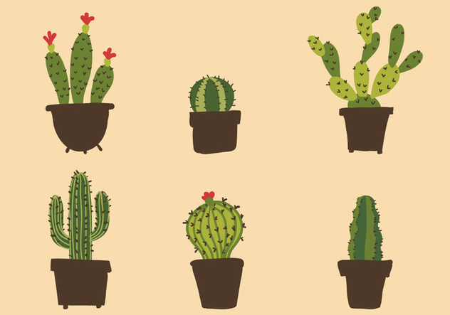 Vector Cactus Illustration Set - Free vector #334395