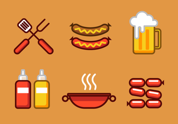 Vector Bratwurst Illustration Set - vector gratuit #334445