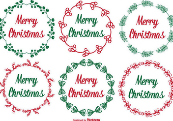 Rounded Floral Christmas Label Set - vector gratuit #334495