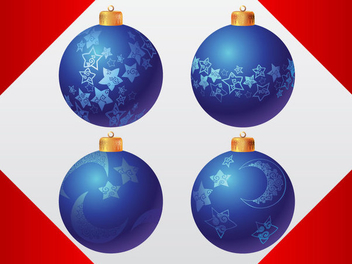 Decorative Blue Christmas Balls - Free vector #334515