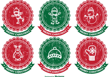 Distressed Christmas Label Set - vector #334575 gratis