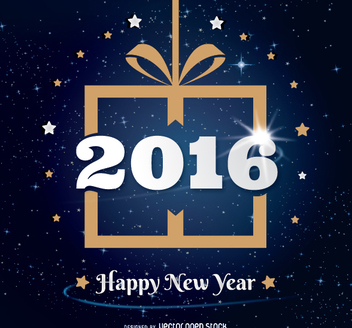 2016 New Year gift design - бесплатный vector #334935
