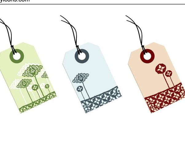 Lace Decoration Sale Tag Set - Free vector #335155