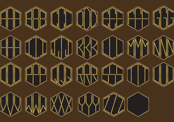 Golden Monogram Vectors - vector #335325 gratis