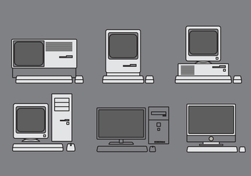 Vector Computer Illustration Set - Free vector #335375