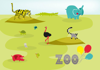 Free Cute Hand Drawn Zoo Animals Vector Background - vector gratuit #335425