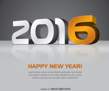 2016 New Year 3D big letters - бесплатный vector #335645
