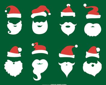 Santa Claus beard and hat set - бесплатный vector #335655