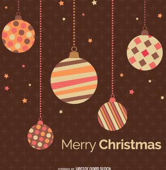 Christmas Balls over Brown retro background - Free vector #335665
