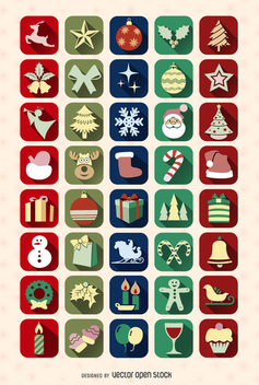 40 Christmas icon Set - Free vector #335675
