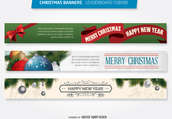 Christmas 728x90 leaderboard banner template - Free vector #335685