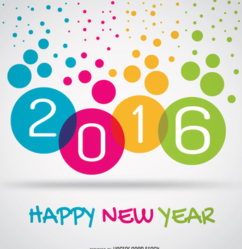 Colorful 2016 happy new year circles - vector gratuit #335705