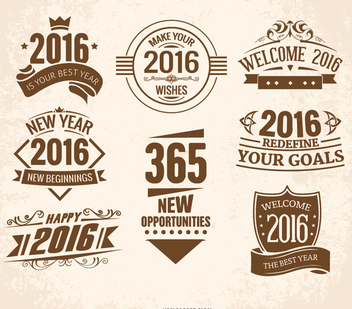 2016 New Year emblems - vector gratuit #335715