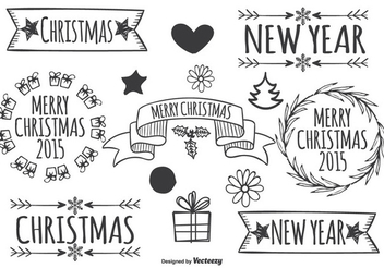 Hand Drawn Vintage Christmas Labels - vector gratuit #335835
