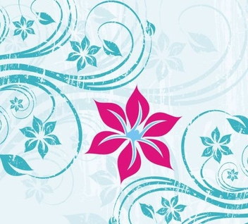 Grungy Blue Swirls Pink Flower - vector gratuit #335875