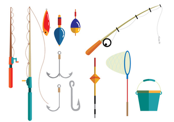 Fishing Equipment Vectors - Free vector #335945