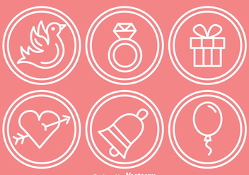 Wedding Outline Circle Icons - Free vector #335965
