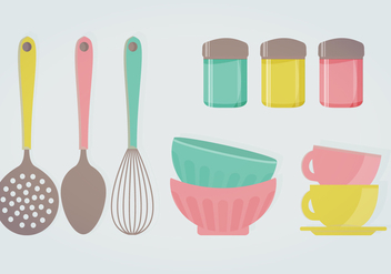 Retro Kitchenware Vector Illustration - Free vector #336045