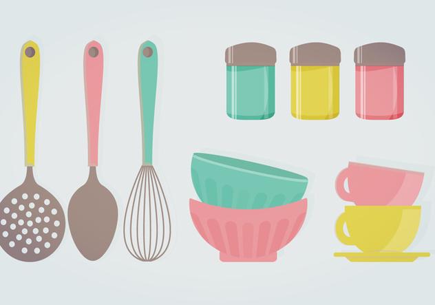 Ilustra o vetorial de utens lios de cozinha retr for Utensilios de cocina vintage