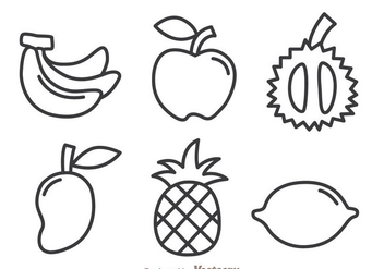 Fruits Outline Icons - бесплатный vector #336115