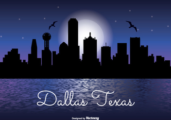 Dallas Texas Night Skyline Illustration - vector gratuit #336165