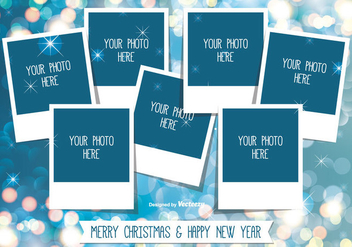 Christmas Photo Collage Template - vector gratuit #336175