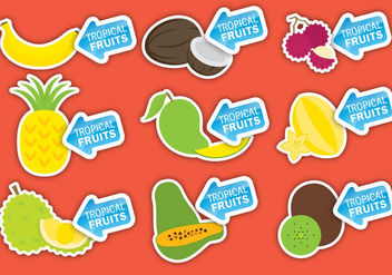 Tropical Fruits Labels - бесплатный vector #336225