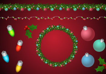 Christmas Wreath and Garland Brushes - Free vector #336265