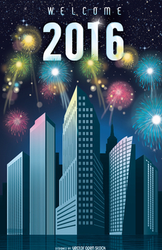 2016 New Year fireworks in the city - vector gratuit #336385