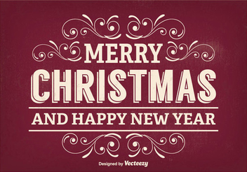 Retro Typography Floral Xmas Greeting - Free vector #336425