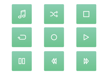 FREE MUSIC PLAYER ICON SET VECTOR - vector #336725 gratis