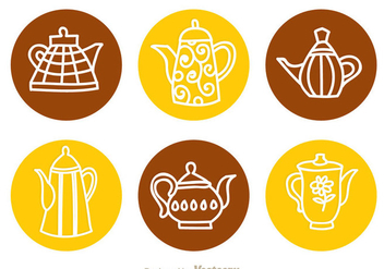 Arabic Coffee Pot Circle Icons - Free vector #336755