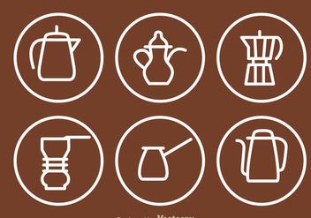 Coffee Pot Outline Icons - vector #336845 gratis