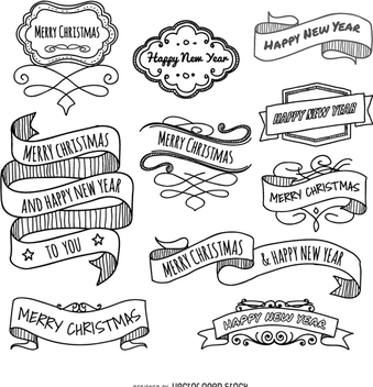 Christmas doodles ribbons - бесплатный vector #336875