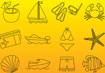 Vacations Thin Icons - vector gratuit #336945