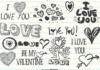 Assorted Cute Love Doodles - Kostenloses vector #336955