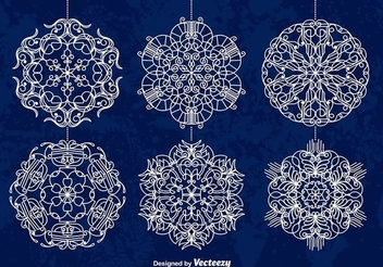 White Ornamented Snowflake Baubles - vector #336995 gratis