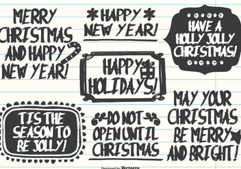 Hand Drawn Marker Pen Style Christmas Labels - vector gratuit #337105