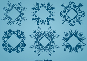 Decorative snowflake-shaped frames - vector #337145 gratis