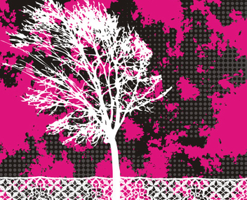 Grungy Tree Lace Footer Landscape - Free vector #337195