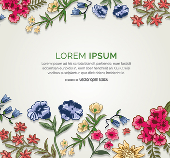 Greeting card with flowers - Kostenloses vector #337335